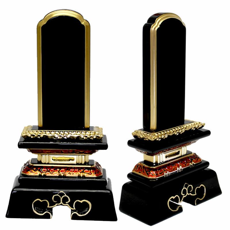 塗位牌・勝美 3.0寸(高さ:15.4cm)【仏具】【位牌】【塗位牌】金虫食いの台座に札板の下の蓮華彫刻が人気の勝美型の極上塗タイプのお位牌です