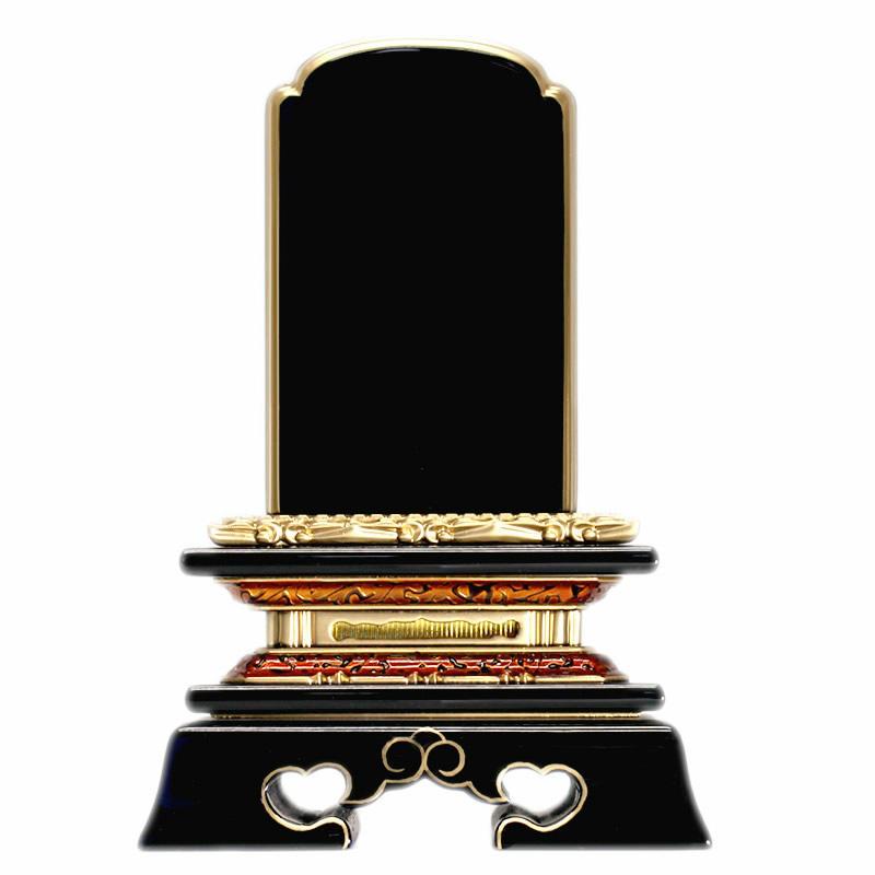 塗位牌・巾広 勝美 3.5寸(高さ:18.2cm)【仏具】【位牌】連名や3名以上の名入れに最適な横幅が広めな金虫喰いの台座が印象的な勝美型の幅広タイプのお位牌
