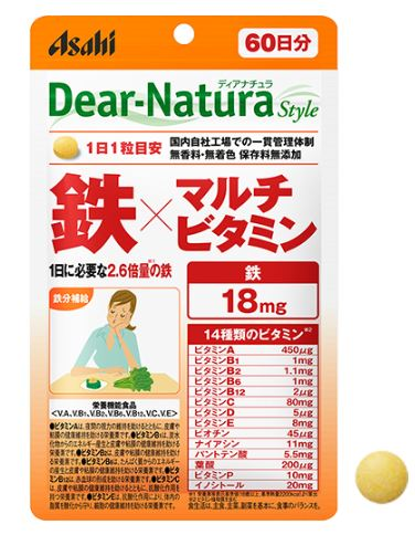 ディアナチュラスタイル 鉄×マルチビタミン アサヒグループ ディアナチュラ アサヒグループ食品 驚きの値段で 現品 60粒×10個セット 栄養機能食品 送料無料