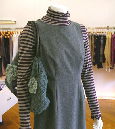 ウールフラノ 杢グレー ジャンパースカート 秋冬 7号~15号 オーダーメイド/ブティックひでき