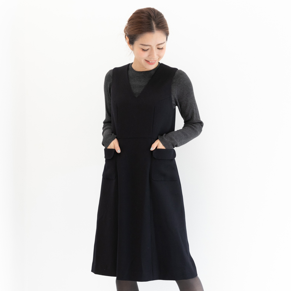 ブティックひでき Vネック ジャンパースカート 秋冬 7号~15号 オーダーメイド