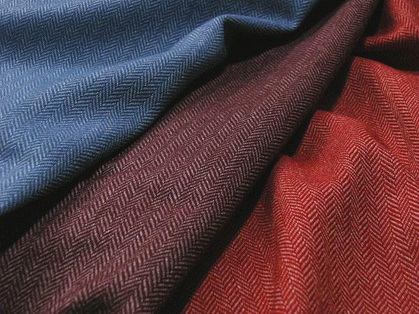 Italy Loro Piana Cashmere Blend Wool Cotton Herringbone Tweed Red Purple Blue H