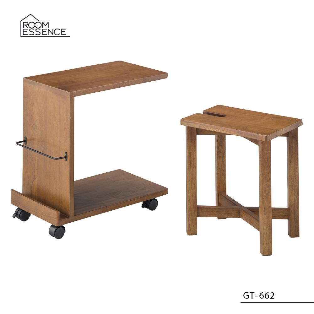 サイドテーブル&スツールセット [GT-662] ■ キャスター 木製 収納 椅子 おしゃれ アメリカン雑貨 【代引き不可】【東谷】