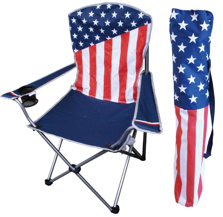 アウトドアチェア (USA FLAG) ■ レジャー カリフォルニアリパブリック コンパクト BBQ ドリンクホルダー付