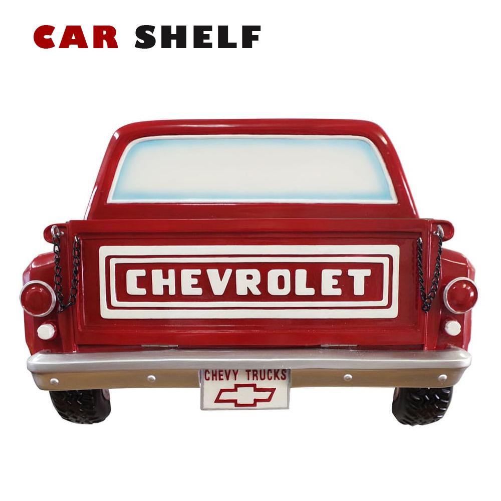 【CHEVROLET-TRUCK-RED】カーシェルフ ■ 壁掛け 棚 インテリア クラシックカー ディスプレイ アメリカン雑貨