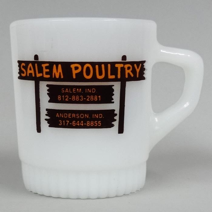【マグカップ】ファイヤーキング Fire-King SALEM POULTRY ■ アメリカン雑貨 アンカーホッキング Anchor Hocking スタッキング アドマグ 【あす楽対応】
