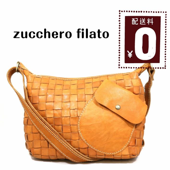 【zucchero filato/ズッケロフィラート】カウレザーメッシュショルダーバッグ ブラウン ホワイト ショルダーバッグ
