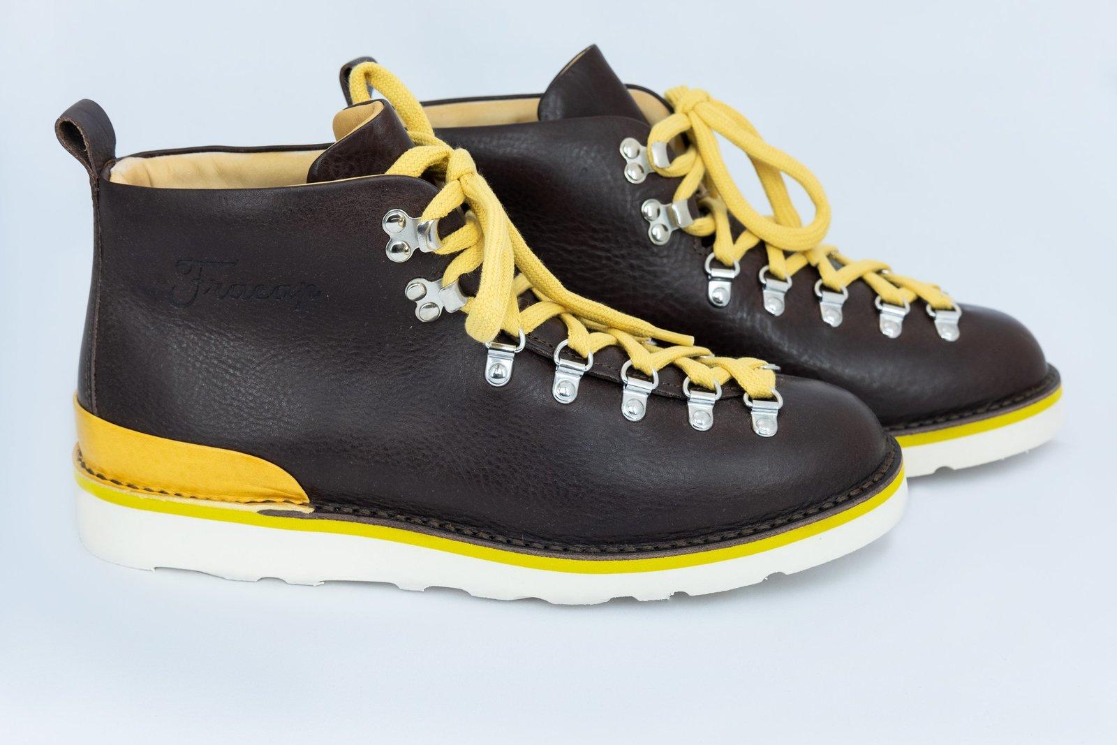 Fracap フラカップ マグニフィコ M120 スポイラーブーツ 靴 シューズ ブラウンレザー イエロースポイラー