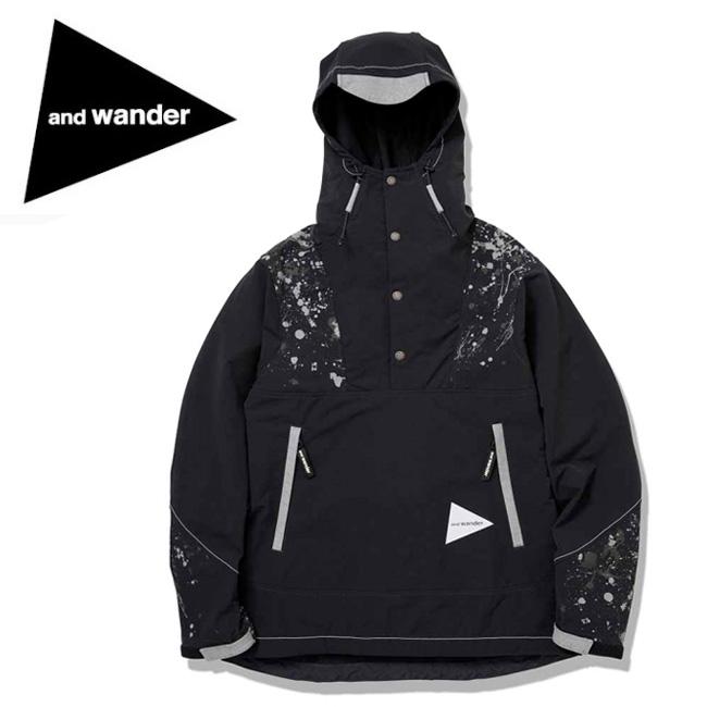 and wander アンドワンダー splatter print nylon double cloth hoodie AW93-FT022 【アウター/パーカー/フーディ/アウトドア】