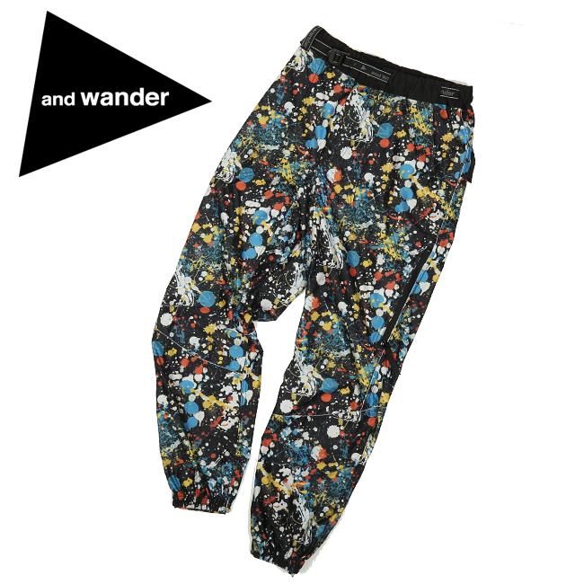 and wander アンドワンダー splatter print raschel rip pants スプラッタープリントラッセルリップパンツ AW93-JF033 【ズボン/アウトドア/おしゃれ/登山/カラフル】