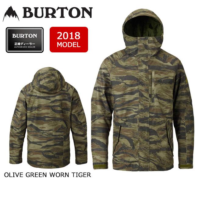 2018 BURTON バートン スノーボードウェア ジャケット MB GORE RADIAL SHELL JACKET OLIVE GREEN WORN TIGER 17985101300 メンズ GORE-TEX 【スノーウェア】【即日発送】