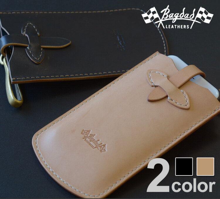 【送料無料】スマホケース 多機種対応 本革 レザー 「Bagdad(バグダッド)スマホケース Lサイズ 」For iPhone iPhone7 Xperia AQUOS ハーマンオーク レザーケース バイカー 真鍮 ハンドメイド