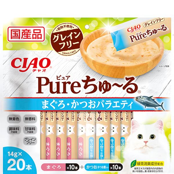 【SALE】 チャオ Pureちゅ~る まぐろ・かつおバラエティ [ちゅーる] 14g×20本