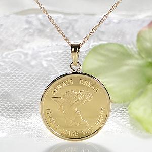 【送料無料】K24 コイン ネックレス ペンダント純金 ゴールド 18k 24k 18金 24金 ジュエリー 地金ネックレス 地金 ペンダント 可愛い 人気 プレゼント 誕生日 母の日 エンジェル 2.5g 天使 貨幣 ゴールドネックレス