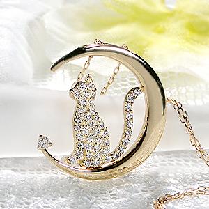 【送料無料】K18YG ダイヤモンド キャット ネックレス 18金 ジュエリー 可愛いネックレス 人気 猫 ネコ ねこ ネコネックレス ダイヤモンドネックレス ダイヤネックレス ダイヤモンドペンダント 月 三日月 moon クレセント