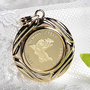 【限定2個】K24 コイン ネックレス ペンダント トップ【送料無料】純金 ゴールド 18k 24k 18金 24金 ジュエリー 地金ネックレス 地金 ペンダント 可愛い 人気 プレゼント 誕生日 母の日 エンジェル 2.5g 天使 貨幣 ゴールドネックレス