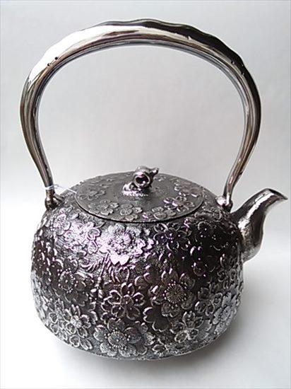 [肘折に花を!] 南部鉄瓶砂鉄鉄瓶平南部型 桜2.7L