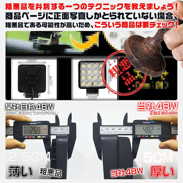 魚眼プロジェクター付 LEDワークライト 48W 5500LM明るさ30%UP 1個 LED作業灯 白色・黄色 LED投光器 12V 24V 防水 屋外照明 拡散・集光 サーチライト 船舶 作業車対応 PL保険付 1年保証