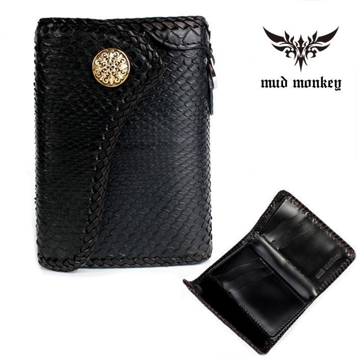 【メーカー保証】 バイカーズウォレット パイソンハーフ 三つ折財布 ブラック INSIDE サドルBlack