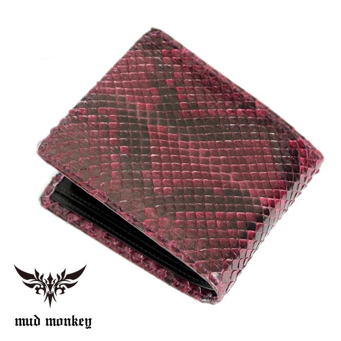 d3dd85300ed6 二つ折り財布 バイカーズウォレット ·パイソン /ボルドーイタリアンレザー仕様