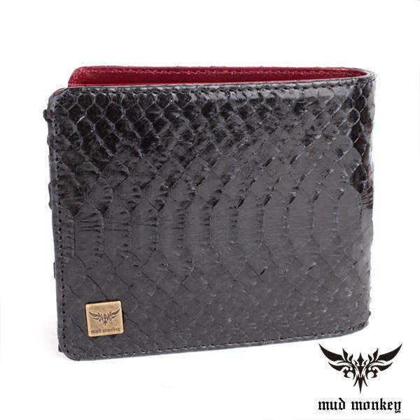 二つ折り財布 バイカーズウォレット パイソン メンズ /シャインブラック/イタリアンREDレザー仕様