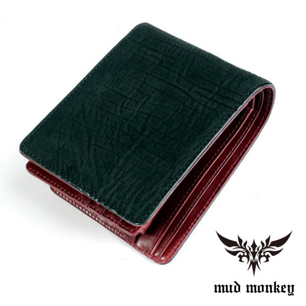 二つ折り財布 バイカーズウォレット シャークレザー/鮫革ブラック/イタリアンレザーRED