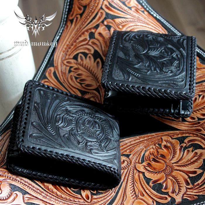 二つ折り財布 バイカーズウォレット カービングウォレット・ショート/ブラック