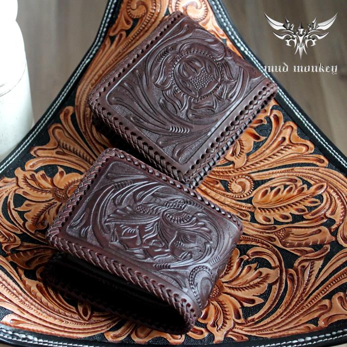 二つ折り財布 バイカーズウォレット カービングウォレット・ショート/ブラウン