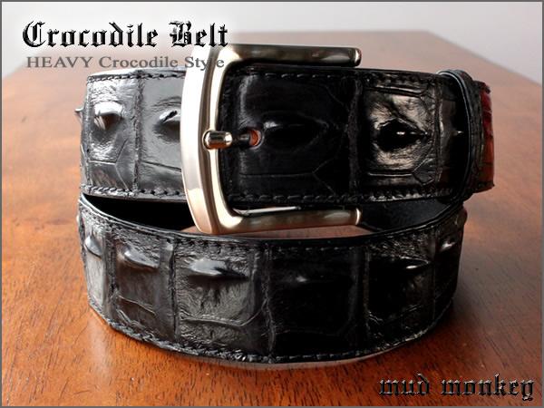 ベルト メンズ 本革 レザー クロコダイル ワニ革 ベルト バイカーウォレット/ブラック/ホーンバック T2