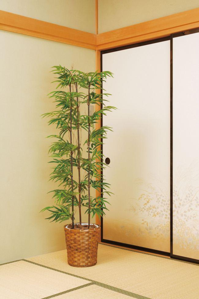 光触媒 光の楽園 黒竹 高さ1.5m 幹:天然竹【インテリアグリーン 大型 人工観葉植物】