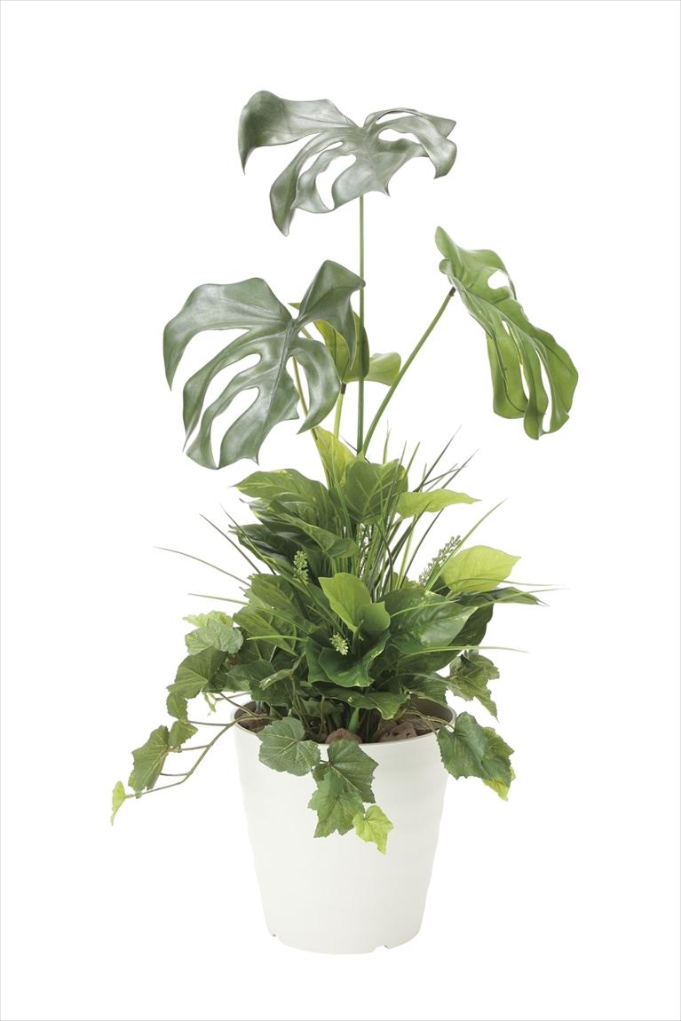 光触媒 人工観葉植物光の楽園 モンステラ90植栽付インテリア フェイクグリーン