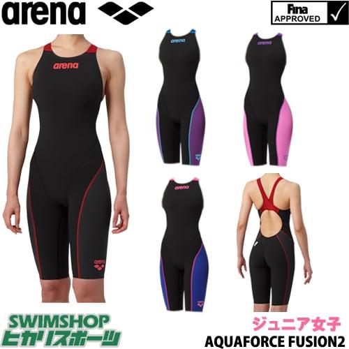 アリーナ ARENA 競泳水着 ジュニア女子 fina承認 ジュニアハーフスパッツオープンバック クロスバック AQUAFORCE FUSION2 2019年春夏モデル ARN7010WNJ