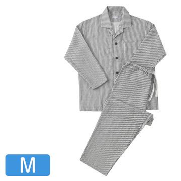 UCHINO 快眠パジャマ マシュマロガーゼ ストライプ メンズパジャマ ダークグレー Mサイズ RPZ18028M-Dgy