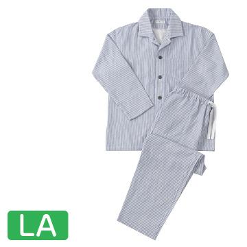 UCHINO 快眠パジャマ マシュマロガーゼ ストライプ メンズパジャマ ダークブルー LAサイズ RPZ18028LA-DB