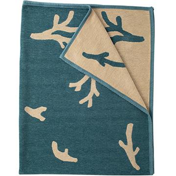 KLIPPAN シュニールコットンブランケット シングル CORAL ブルー/ベージュ KP891879
