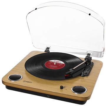 ION Audio Max LP スピーカー搭載USBレコードプレーヤー 天然木パネル IA-TTS-013