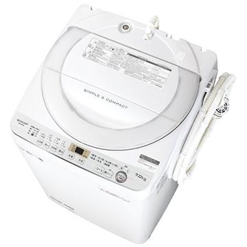 シャープ たて型洗濯機(7kg) ホワイト系【大型商品(設置工事可)】 ES-GE7C-W