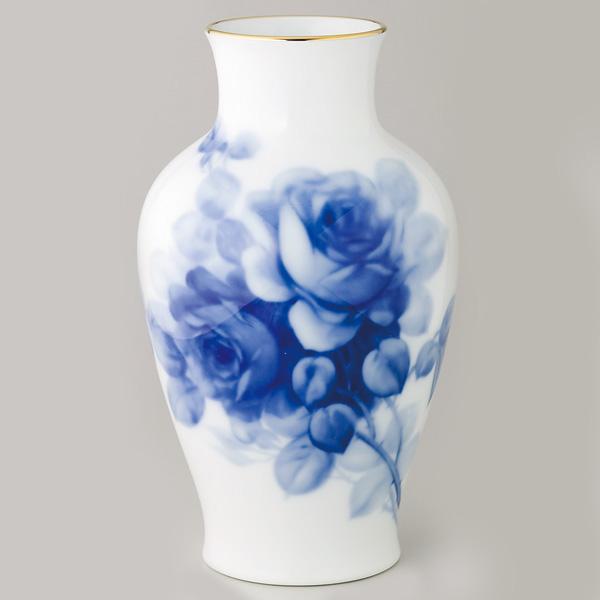 皇室御用達 大倉陶園 日本製 ブルーローズ 28cm花瓶 【ギフト 出産内祝 結婚内祝 快気祝 香典返し お返し 各種内祝 引出物 景品】