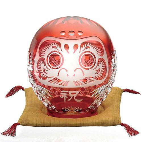 皇室御用品 日本製 KAGAMI CRYSTAL (カガミクリスタル) 江戸切子 祈願成就 祝だるま (大) 結城紬(絹織物)座布団付き 【ギフト 御祝 祈願成就 記念品 贈答用】