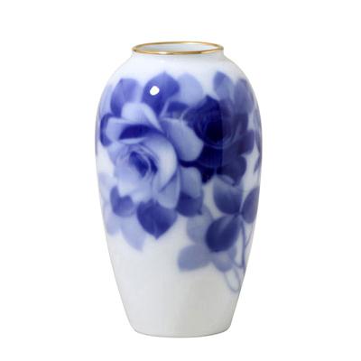 皇室御用達 大倉陶園 日本製 ブルーローズ 15m花瓶 【ギフト 出産内祝 結婚内祝 結婚式引出物 快気祝 法事引出物 香典返し お返し 各種内祝 引出物 景品】
