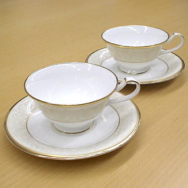 Noritake (ノリタケ) 日本製 ホワイトパレス ティー・コーヒーカップ&ソーサーペア 【ギフト 出産内祝 結婚内祝 結婚式引出物 各種内祝】
