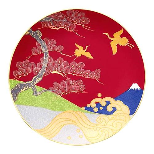 Noritake (ノリタケ) 日本製 めでた尽くし 美保の松原と富士山 27.5cm額皿 (木製皿立付) 【ギフト 記念品 出産内祝 結婚内祝 結婚式引出物 各種内祝】