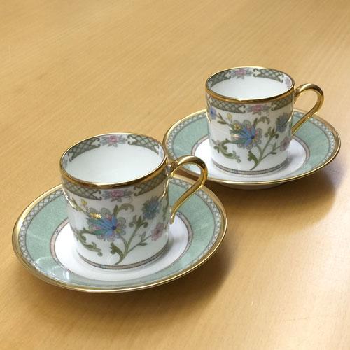 Noritake (ノリタケ) 日本製 ヨシノ コーヒーカップ&ソーサーペア (グリーン) 【ギフト 出産内祝 結婚内祝 快気祝 お返し 各種内祝 引出物】