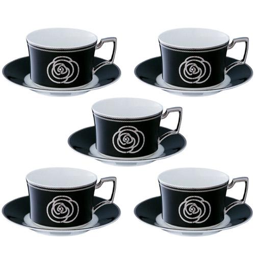 Noritake (ノリタケ) エイダン プラチナ ティー・コーヒーカップ&ソーサー 5客セット (ブラック) 【ギフト 出産内祝 結婚内祝 結婚式引出物 各種内祝 引出物】