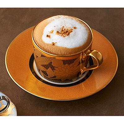 Noritake (ノリタケ) 日本製 オマージュコレクション 橙絵花鳥文 カプチーノ コーヒーカップ&ソーサー 【ギフト 結婚内祝 各種内祝 引出物】
