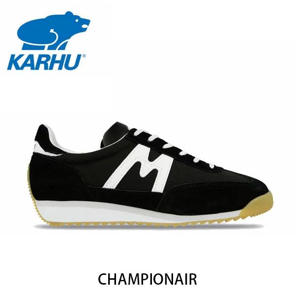 送料無料 KARHU カルフ メンズ レディース スニーカー チャンピオンエア CHAMPIONAIR スウェード×ナイロン ブラック×ホワイト ローカット 定番 フィンランド 北欧 KH805003