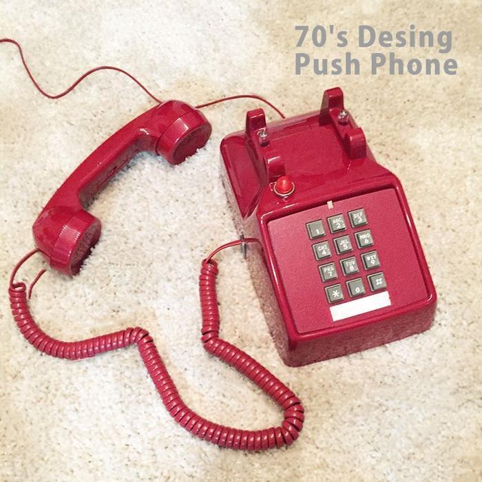 アンティークデザインプッシュ電話【70's Desing Push Phone】電話機 アンティーク レトロ 家電 ヴィンテージ インテリア