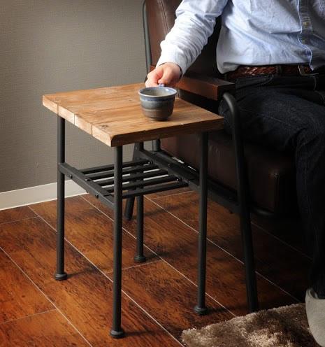 古材仕様ヴィンテージサイドテーブル