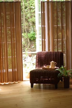 W約100×H175cm 燻製竹編上カーテン:100x175 現金特価 1枚組 輸入 :送料無料 和風アジアン