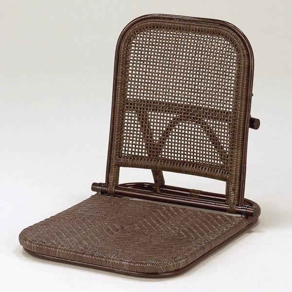 和ラタン◇アジロ編み折畳み座椅子ダーク:送料無料【籐 アジアン】